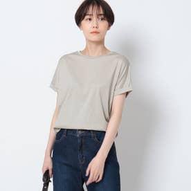 「L」【洗える/接触冷感】コットン ロールスリーブベーシックTシャツ (ライトベージュ)