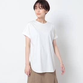 「L」【洗える/接触冷感】コットン ロールスリーブベーシックTシャツ (ホワイト)