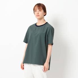 リブつきTシャツ風ブラウス (ダークグリーン)