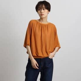 【洗える/WEB限定カラー】ギャザーネックニット (オレンジ)
