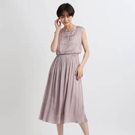 【洗える】ドレープサテンワンピース (ピンク)