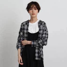 【2WAY】オータムチェックシャツ (ブラック)