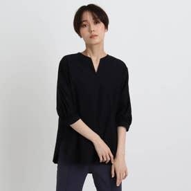 【洗える/UVケア/日本製】ボサムカットブラウス (ブラック)