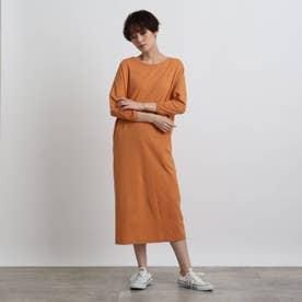 【洗える】ドルマンカットソーワンピース (オレンジ)