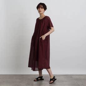 【洗える】シャイニーボイルワンピース (ボルドー)