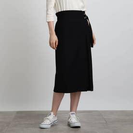 【エコ/洗える】ナローラップスカート (ブラック)
