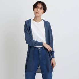「L」【洗える/WEB限定カラー】シアーニットロングカーディガン (ブルー)