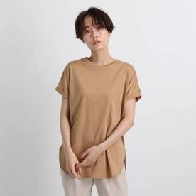 【洗える/接触冷感】コットン ロールスリーブベーシックTシャツ (タバコブラウン)