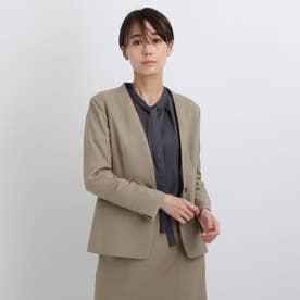 【エコ/洗える/UVケア】シャンブレーノーカラージャケット (サンドベージュ)