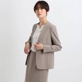 【エコ/洗える/防汚/UVケア】ストレッチノーカラージャケット (サンドベージュ)