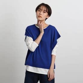 【2WAY/洗える】ニットベスト (ブルー)
