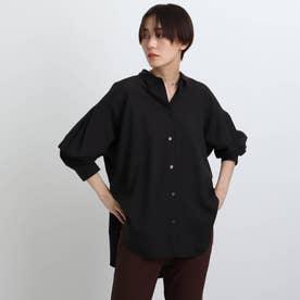 「L」【着るうるおい/美肌効果】セミオーバーブラウス (ブラック)