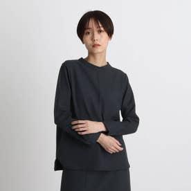 【エコ/洗える/UVケア】シャンブレーハイネックブラウス (ネイビー)