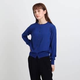 【ウール100%】丸首ベーシックカーディガン (ブルー)