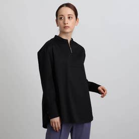 ジップアップネックデザインシャツ (ブラック)