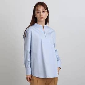 ジップアップネックデザインシャツ (サックス)