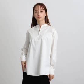 ジップアップネックデザインシャツ (ホワイト)
