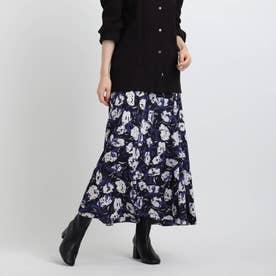 フラワープリントスカート (ネイビー)