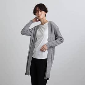 【毛玉防止/ウール100%】袖リブロングニットカーディガン (ライトグレー)