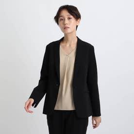 【エコ/洗える/防汚/UVケア】ストレッチテーラードジャケット (ブラック)