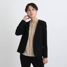 【エコ/洗える/防汚/UVケア】ストレッチノーカラージャケット (ブラック)
