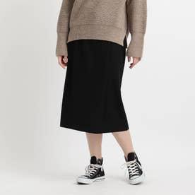 【洗える】ラップ風ナロータイトスカート (ブラック)