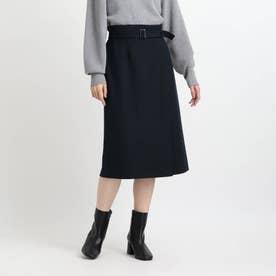 【洗える】ラップ風ナロータイトスカート (ネイビー)