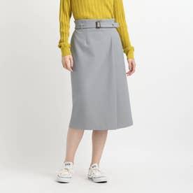 【洗える】ラップ風ナロータイトスカート (サックス)