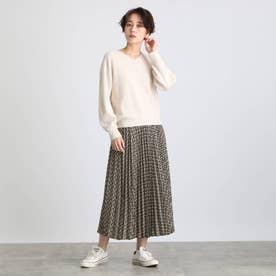 【2点セット】袖パフニット&柄プリーツスカート セットアップ (オフホワイト)