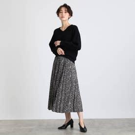 【2点セット】袖パフニット&柄プリーツスカート セットアップ (ブラック)
