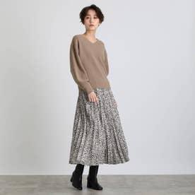 【2点セット】袖パフニット&柄プリーツスカート セットアップ (ブラウン)