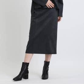 【洗える/日本製】フェイクスエードダンボール ストレートミディスカート (ネイビー)