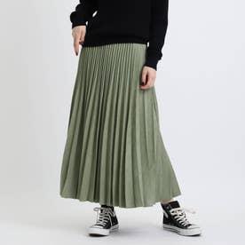 フェイクスエードプリーツスカート (グリーン)