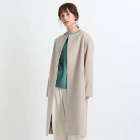 【日本製/ウール100%】ビーバーノーカラーコート (サンドベージュ)