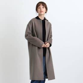 【日本製/ウール100%】ビーバーノーカラーコート (ディープブラウン)
