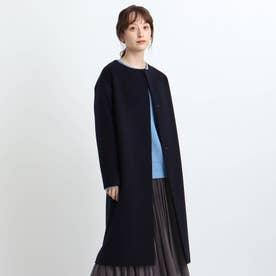 【日本製/ウール100%】ビーバーノーカラーコート (ネイビー)