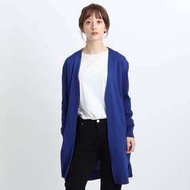 【毛玉防止/ウール100%】袖リブロングニットカーディガン (ブルー)