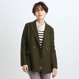【日本製】メタルボタンブレザージャケット (ダークオリーブ)