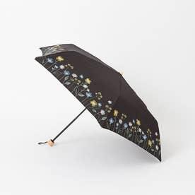 【晴雨兼用】折りたたみ傘/フラワーブルーム (ブラック)