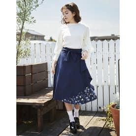 【春の新作】花柄切替ラッフルミディ/スカート (コン)