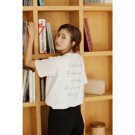 バックロゴTシャツ (オフホワイト/パープル)