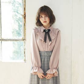 ブローチ付フリル長袖/BL (ピンク)