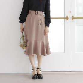 サイド釦裾切替ミディスカート (モカ)