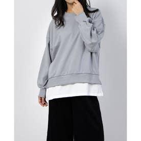 裏毛クルーネックTシャツレイヤーチュニック (セージグリーン)