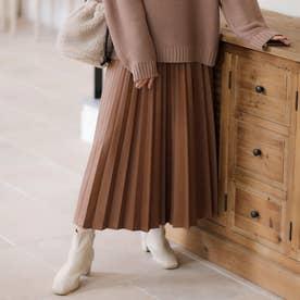 フェイクレザープリーツスカート (ブラウン)