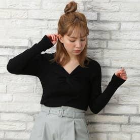 12Gツイスト長袖ニット (クロ)