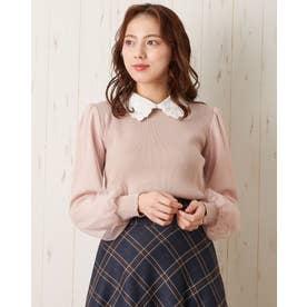 12G衿付袖異素材ニット (ピンク)