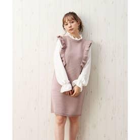 7G袖異素材フリル付ニットワンピース (ピンク)