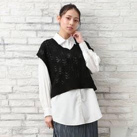 7GスカシケーブルシャツSET (クロ)