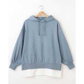 裏毛フーディーTシャツレイヤーチュニック (ブルー/A)